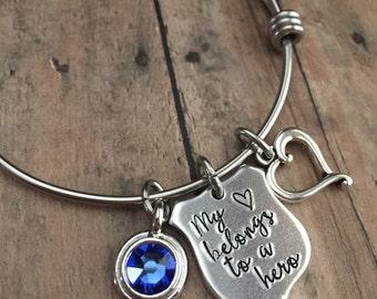 Police Bracelet, Police Wife Jewelry, Police Badge Jewelry, Gifts for Her, Hero Bracelet, Law Enforcement Bracelet, Stamped Police Bracelet