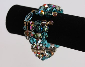 Blue sparkling cuff bracelet B45