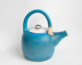 Stoneware Hand Thrown Turquoise Teapot. Lady Teapot. Made to order