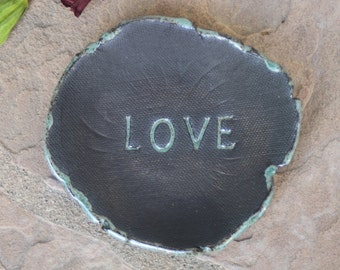 Love Ring Dish handmade ceramic small plate Ring bowl black clay pottery jewelry catchall valentine's day anniversary engagement gifts