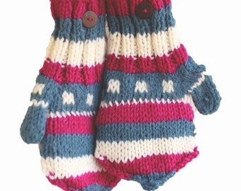 Winter Wool Mittens | Colorful Warm Mittens | Winter Wool Gloves | Knitted Women's Mittens | Unique Christmas Gift