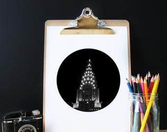 Photography Chrysler building, New York, black white, Manhattan print, architecture, NYC print, modern poster,