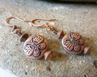 Copper Butterfly Earrings, Butterfly Coin Beads Earrings, Dainty Butterfly Jewelry, Small Copper Butterfly Earrings