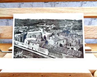 Vintage unused French postcard Villeneuve-les-Avignon real photograph postcard sepia black and white