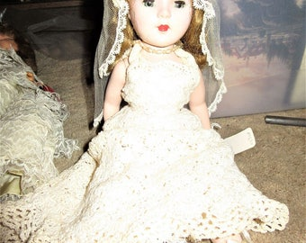 "American character Bridal dress 14"" Doll crochet Wedding dress 1950's Girl dolls"