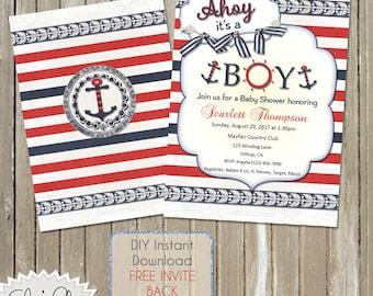 AHOY ITS a BOY - Sailor Baby Shower Invitation, Ahoy Baby Shower Invite, Nautical Baby Shower Invite, Ahoy Its a Boy Baby Shower Invite, PdF