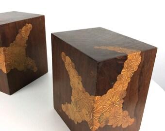 Pair Roger Sloan Studio Art Inlaid Sculptures Bookends Mid Century Modern