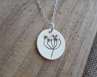 Pure silver handmade pincushion protea pendant necklace sterling silver chain