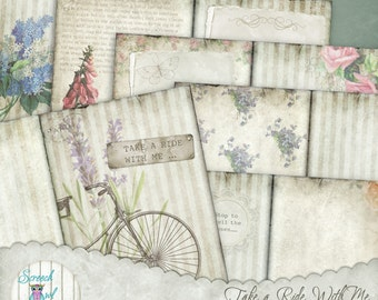"""Junk Journal Kit, Journal Pages 5"""" x 7"""", Digital Journal, Bicycle, Paper Craft Supplies, Printable stationery - 'Take A Ride With Me'"""