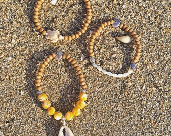 Benly Sea Turtle Hatchling Cowrie Shell Mother of Pearl and Coco Wood Bead Bracelet Set by Pisces Island