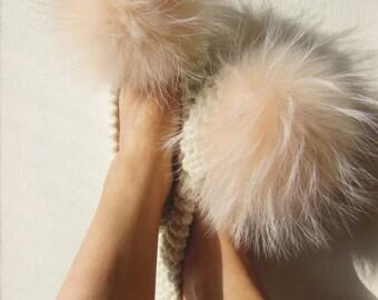 Furry Slippers, Fuzzy Slippers, Merino Wool, Knitted, Non-Slip Slippers, Crochet Women's Slippers, Large Raccoon Pom Poms, Gift Wrapped