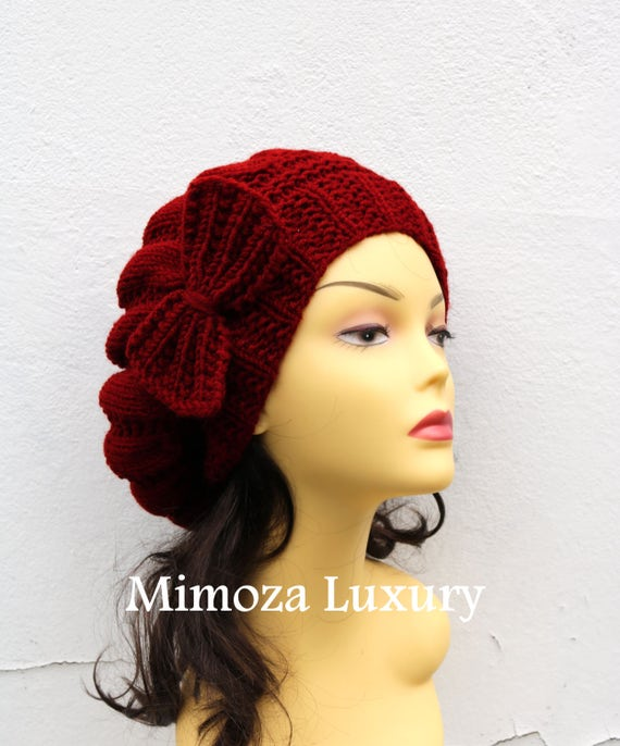 Deep Red Woman Hat with Bow, Burgundy Beret Lady's hat with bow, red hand knit hat, slouchy winter knit women's hat with bow, winter woman