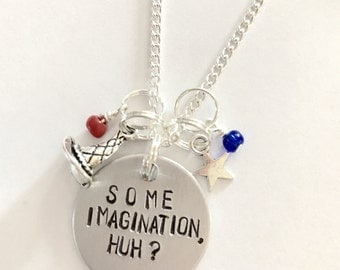 "Disney Fantasmic Inspired Hand-Stamped Necklace - ""Some Imagination, Huh?"""