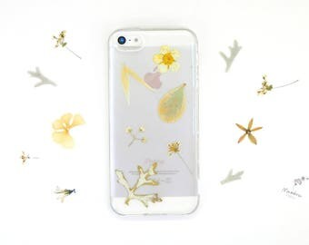 iPhone 5/5s/SE flower case with real pressed yellow flowers