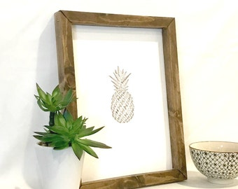 Pineapple Art - Pineapple Print - Pineapple Wall Art - Modern Pineapple - Black and Copper Art - Rustic Modern Art - Wood Frame Wall Art