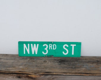Vintage Metal Street Sign - Aluminum Double Sided Reflective Green - NW 3rd Street