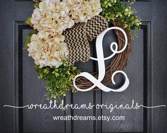 BEST SELLER! Cream Hydrangea Wreath. Burlap Wreath. Year Round Wreath. Spring Wreath. Summer Wreath. Monogram Wreath. Door Wreath