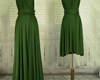 Forest green dress,Bridesmaid Dress , Infinity Dress, Wrap Convertible Dress.Party dress-B46#C46#