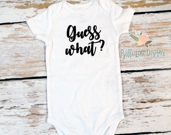 Guess What Onesie | New Baby for Dad & Family | Expecting Baby Onesie | Baby To Be | Pregnancy Surprise | Pregnancy Announcement | 149