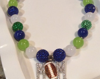 Free Shipping! Seattle Seahawks Inspired bubblegum necklace, mommy seattle seahawks necklace, Seahawks mom necklace