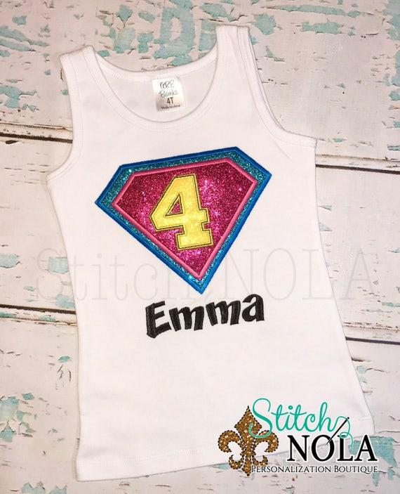 Super Hero Shirt, Super Hero Birthday Shirt, Girl Super Hero, Boy Super Hero, Super Hero Applique, Letter or Number Available