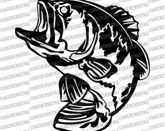 Bass Fish SVG Cut File, Cuttable Files, Silhouette Cut File, Cricut Cut File