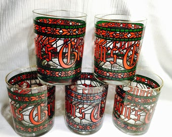 """Vintage Cera  ©Houze Stained Glass """"Season's Greetings"""" Old Fashioned barware, drinkware"""