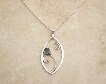 Silver Aquamarine Leaf Filigree Pendant, Silver Aquamarine Jewelry, Botanical Necklace, March Birthstone Jewelry, Pisces Jewelry