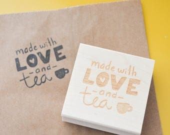 Etsy Shop Stamp, Made With Love and Tea, Shipping Stamp, Packaging Stamp, Stamp for Etsy Shop, Stamp for Packages, Snail Mail, Happy Mail