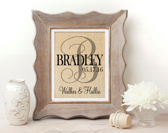 Bridal Shower Deocration | Personalized Burlap Print | Wedding Gift | Wedding Gift for Couple | Burlap Wedding Decoration | Bridal Shower