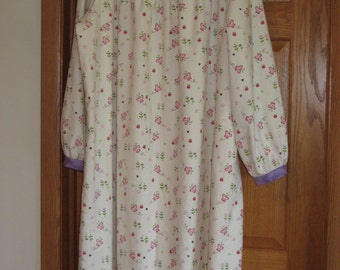 Womens' Size XL Petite Flannel Nightgown, Ivory Garden Doodles and Purple, FREE SHIPPING