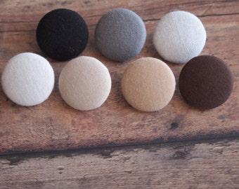 Solid neutral color fabric covered buttons (size 60, 40, 32, 20, or 18), black buttons gray buttons white buttons brown buttons tan buttons