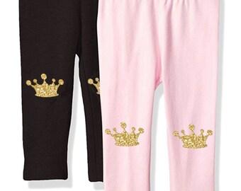 Gold crown leggings, baby leggings, baby pants, toddler pants, toddler leggings valentines day baby outfit knee patch crown breaker