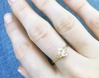 Minimalist Herkimer Diamond Ring // Delicate Druzy Ring // Herkimer Jewelry // Handmade Ring