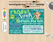 Product search baby showerdogs puppies catch my party baby boy shower invitation frogs filmwisefo Image collections