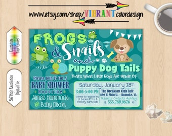 Baby Boy Shower Invitation, Frogs and Snails and Puppy Dog Tails Baby Shower, Boy Baby Shower Invitation, Puppy Baby Shower