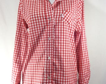 Womens Vintage Levis Gingham Long Sleeve Button Up Western Shirt size M