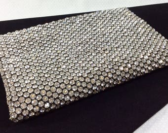 1920s Double Sided Rhinestone Wallet Clutch with Ivory Silk Lining