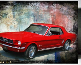Vintage Retro Style Art Old Timer 1965 Red Ford Mustang Car Painting Home D Cor Wall