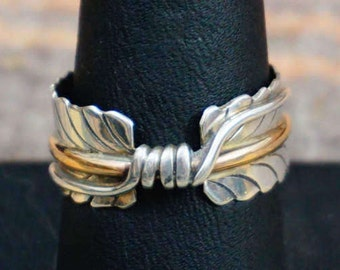 Handmade Navajo Silver 12KGF Double Prayer Feather Rings-Item # 650A
