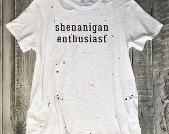 Size S/4-6 SHENANIGAN ENTHUSIAST Destroyed Tee, Splatter Painted, Relaxed fit, Raw Edge,Workout Top,Gym Tank,Yoga Tank,Fitness,Gym Sh