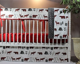 Boy Buffalo Plaid Baby Bedding, Boy Adventure Bedding, Boy Buffalo Plaid Crib Bedding, Moose, Bear, Camping, Tent, Arrows, Trees, Chevron