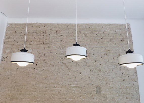 Hanging / pendant / ceiling lamp white & black... eco-friendly handmade :recycled from  coffee can! LED light bulb included! also US and UK