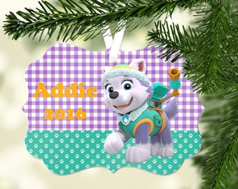 Personalized Paw Patrol Ornament ~ Everest Christmas Ornament