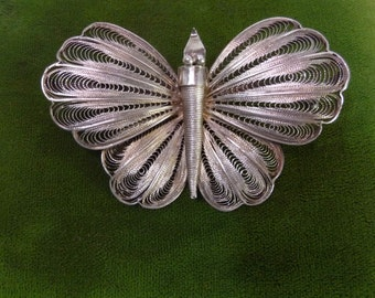 PIN Butterfly filigree silver vintage.