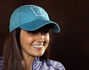 Minnesota State Outline Monogram Hat - MN - Personalized