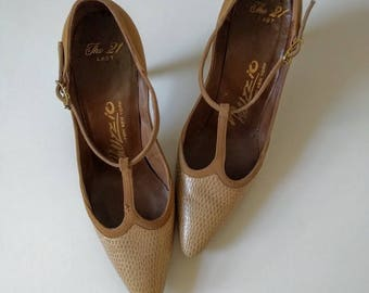 vintage 60's palizzio snakeskin and suede t-strap pumps in tan