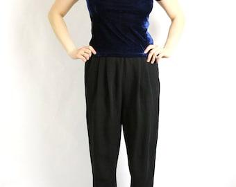 Vintage 80's 90's Dark Blue Velvet Top Blouse Short Sleeve