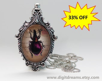 Ma30: Pink Beetle antique style pendant/keychain