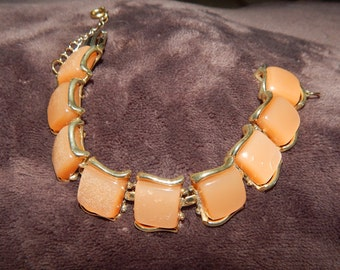 Vintage Coro Bracelet Pink Coral Colored Bracelet with Safety Chain Signed Coro